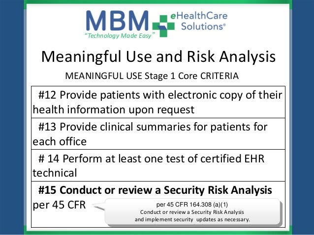 mbm ehealthcare solutions hipaa hitech meaningful use risk analysis
