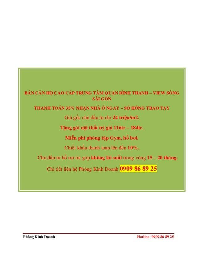 Phòng Kinh Doanh Hotline: 0909 86 89 25 BÁN CĂN HỘ CAO CẤP TRUNG TÂM QUẬN BÌNH THẠNH – VIEW SÔNG SÀI GÒN THANH TOÁN 35% NH...