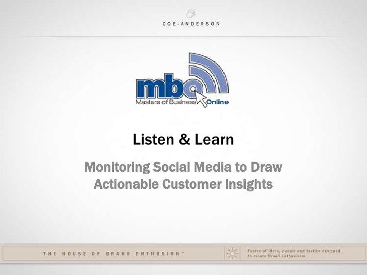 Listen & Learn: Monitoring Social Media for Actionable Business Insights