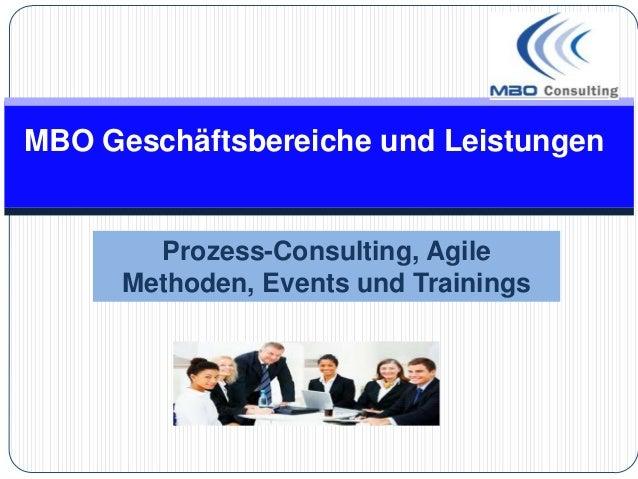 MBO Geschäftsbereiche und LeistungenProzess-Consulting, AgileMethoden, Events und Trainings