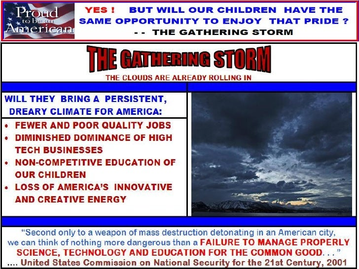 THE GATHERING STORM ARE WE FRITTERING AWAY THE AMERICAN OPPORTUNITY SO ARDUOUSLY AND BRAVELY LEFT TO US BY THOSE WHO PAVED...