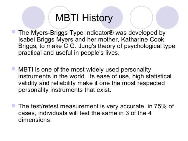evaluation of myers briggs Myers-briggs type indicator you may have taken the myers-briggs type indicator (mbti) at some stage — 2 million people take it every year it's the gold standard of psychological assessments and many employers use it to evaluate job candidates the idea is that each of us fits one of 16 personality types.