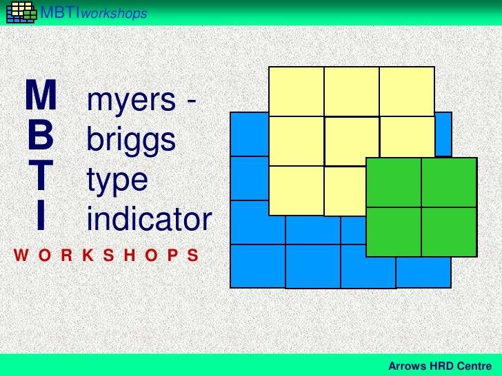 MBTIworkshopsM myers -B briggsT typeI indicatorW O R K S H O P S                    Arrows HRD Centre
