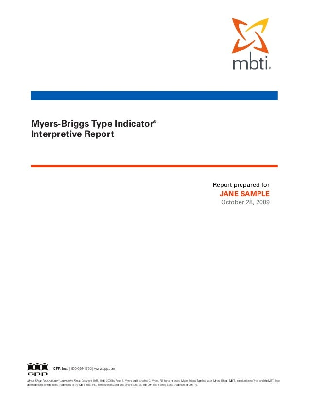 Myers-Briggs Type Indicator®   Interpretive Report                                                                        ...