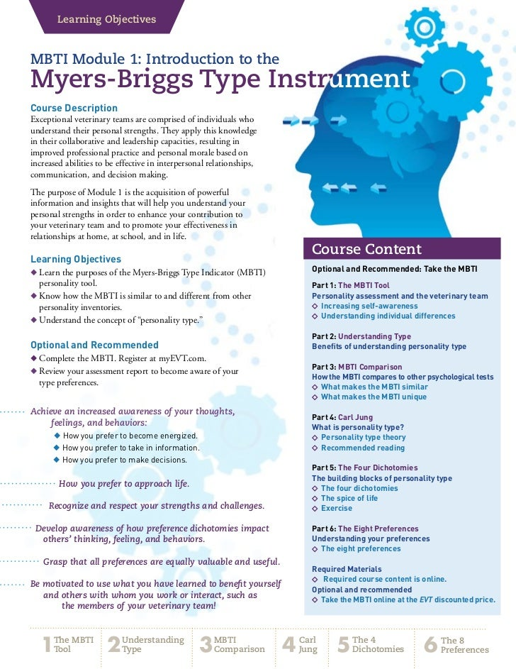 Learning ObjectivesMBTI Module 1: Introduction to theMyers-Briggs Type InstrumentCourse DescriptionExceptional veterinary ...