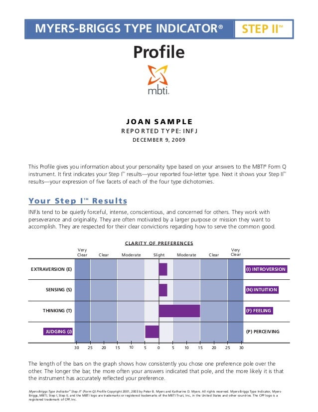 Mbti step ii profile report