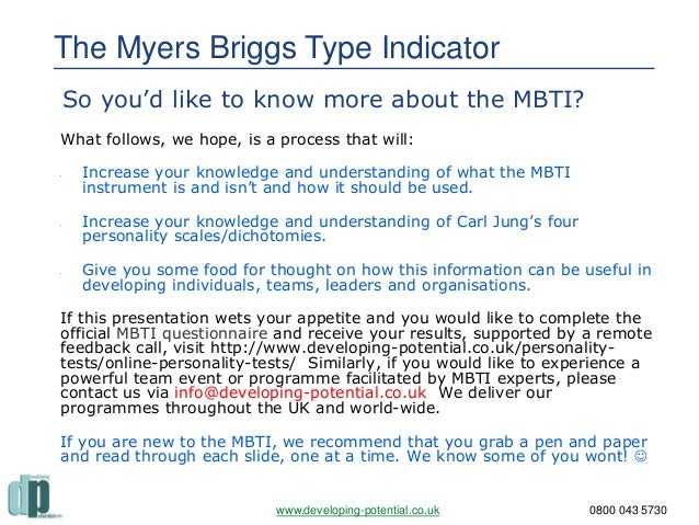 mbti assessment essay Myers-briggs test record your four-lettered personality type after completion of the test and use the internet to interpret your personality type in this part of the assignment, you will write a research paper that analyses your results.
