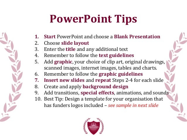 Presentation tip