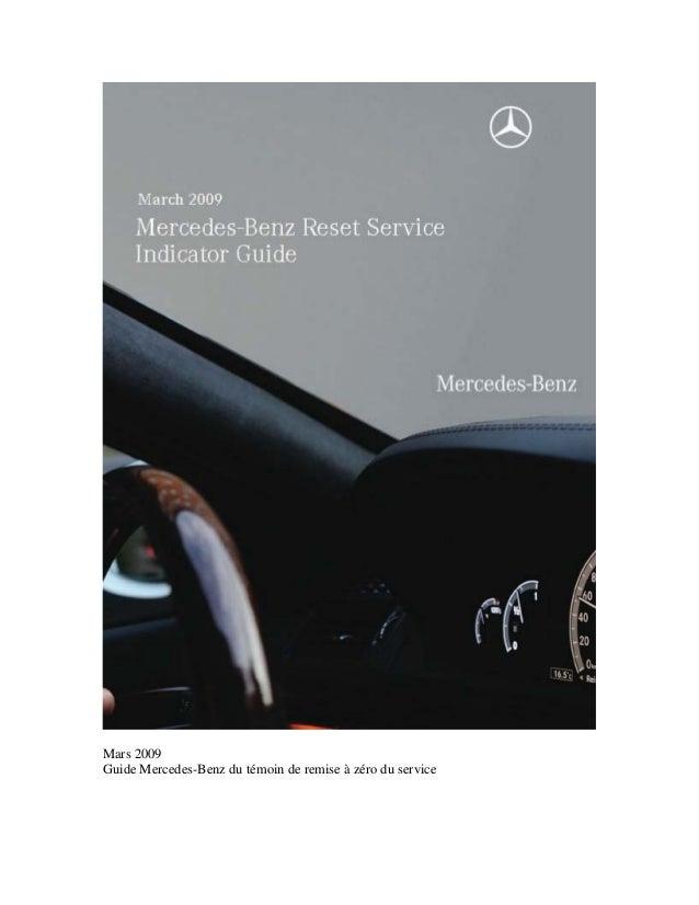 Mars 2009 Guide Mercedes-Benz du témoin de remise à zéro du service