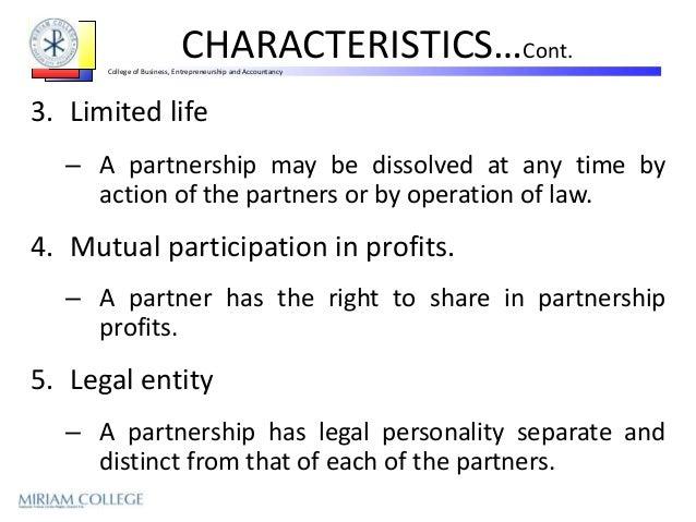 the characteristics of partnership