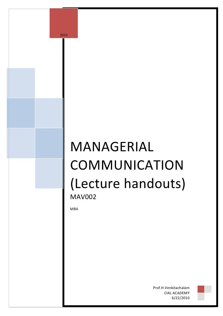 2010            MANAGERIAL        COMMUNICATION        (Lecture handouts)        MAV002        MBA                        ...