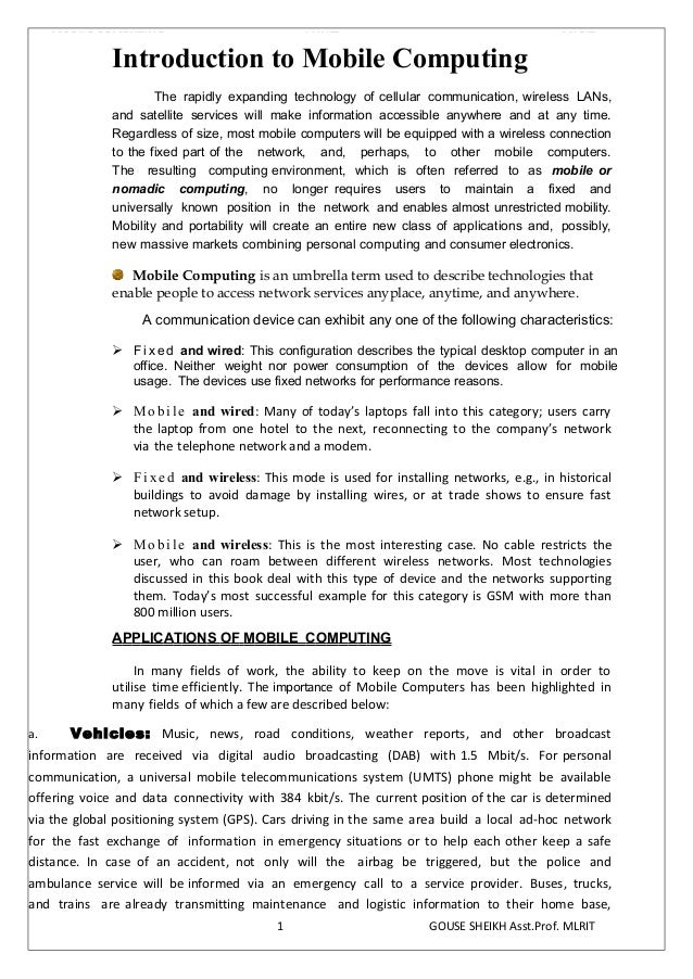 Mobile Computing I-Unit Notes