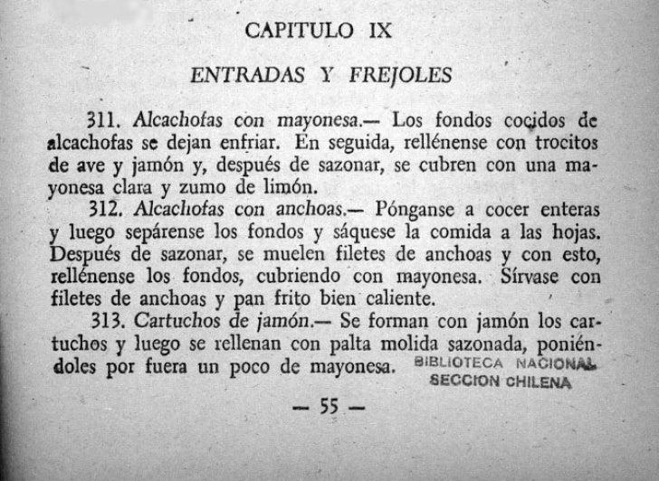 * n               *      CAPITULO IX   -            ENTRADAS Y FREJOLES     311. Aicachofas con mayonesa.- Los fondos coci...