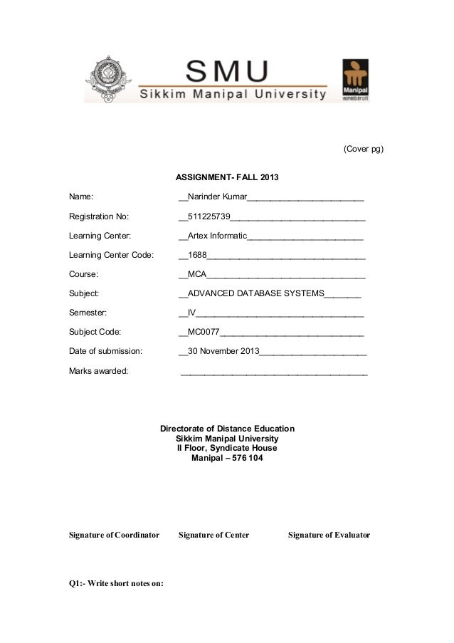 (Cover pg) ASSIGNMENT- FALL 2013 Name:  __Narinder Kumar_________________________  Registration No:  __511225739__________...