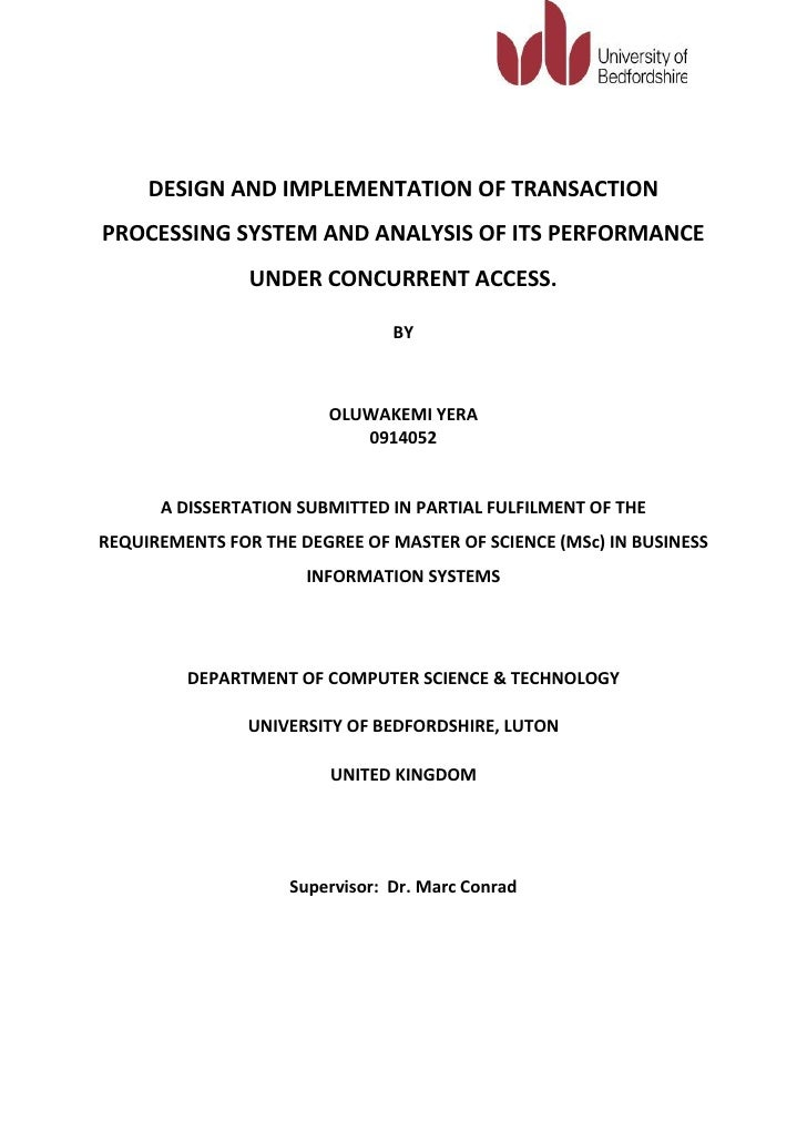 DESIGN AND IMPLEMENTATION OF TRANSACTIONPROCESSING SYSTEM AND ANALYSIS OF ITS PERFORMANCE                UNDER CONCURRENT ...