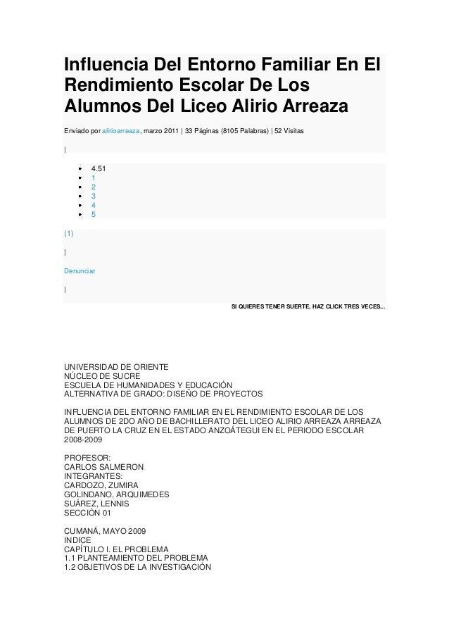Influencia Del Entorno Familiar En El Rendimiento Escolar De Los Alumnos Del Liceo Alirio Arreaza Enviado por alirioarreaz...