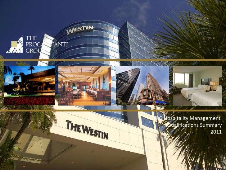 TPG Hospitality Management  Qualifications Summary 2011