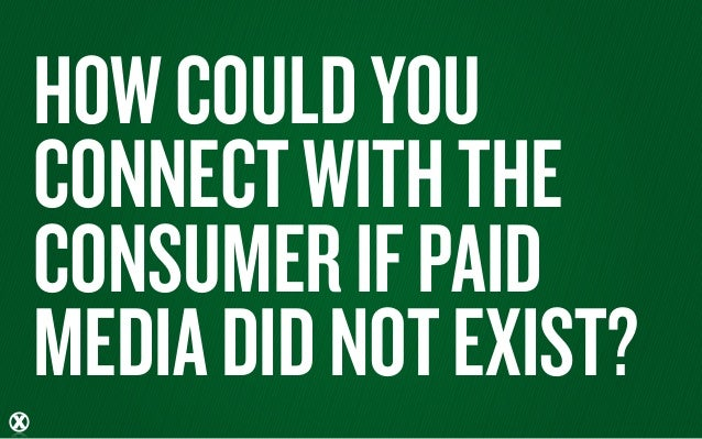 HOW COULD YOUCONNECT WITH THECONSUMER IF PAIDMEDIA DID NOT EXIST?