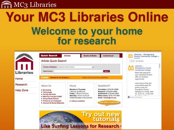 MC3 LibrariesYour MC3 Libraries Online      Welcome to your home          for research