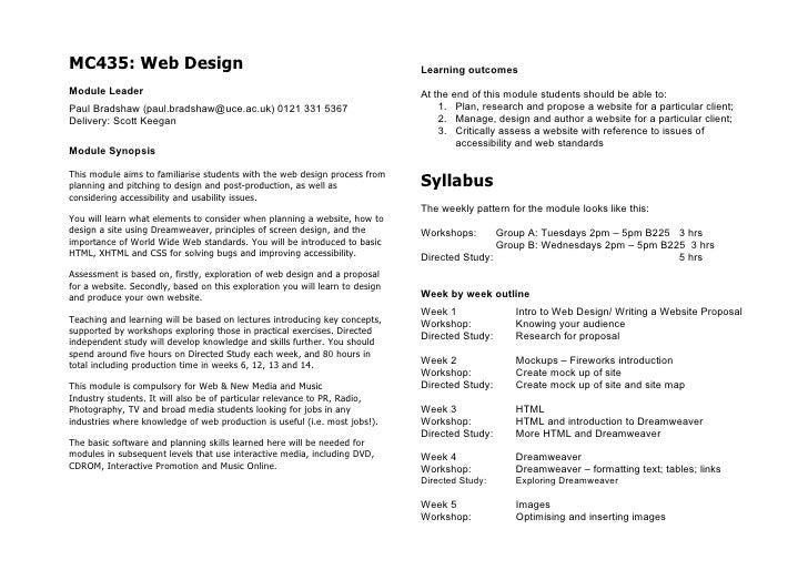 MC435: Web Design                                                             Learning outcomes Module Leader             ...