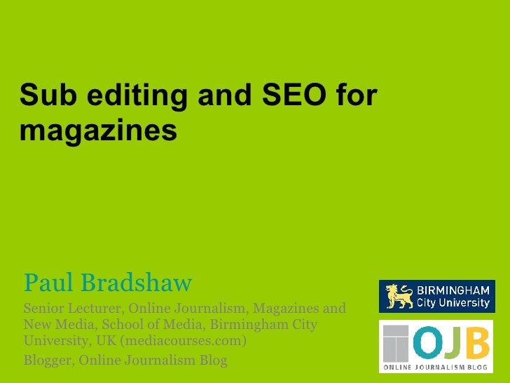 Sub editing and search engine optimisation for magazines