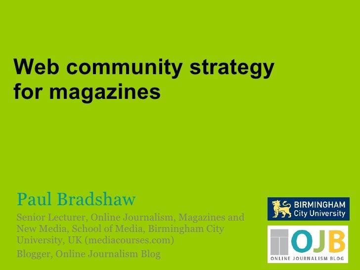 Web community strategy for magazines