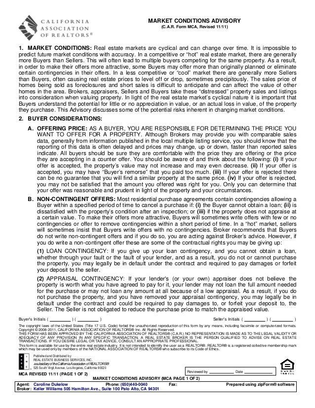 MARKET CONDITIONS ADVISORY                                                                                        (C.A.R. ...