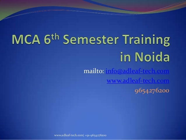 MCA 6th Sem Project Training in Noida