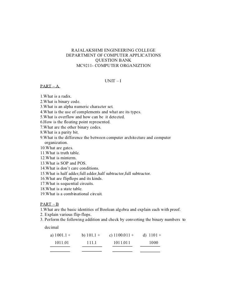 RAJALAKSHMI ENGINEERING COLLEGE              DEPARTMENT OF COMPUTER APPLICATIONS                          QUESTION BANK   ...