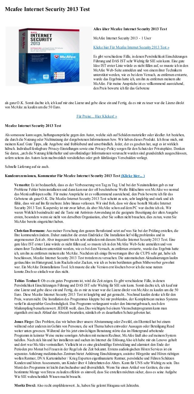 Mcafee Internet Security 2013 Test                                                               Alles über Mcafee Interne...