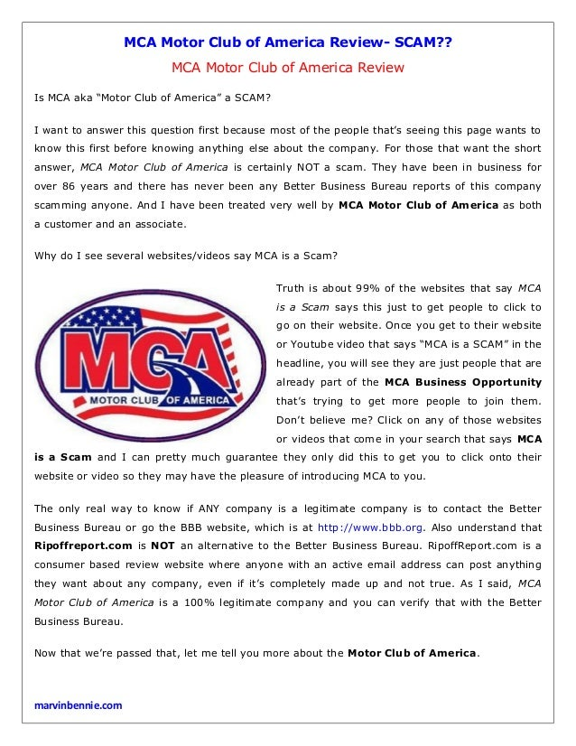 mca motor club of america review