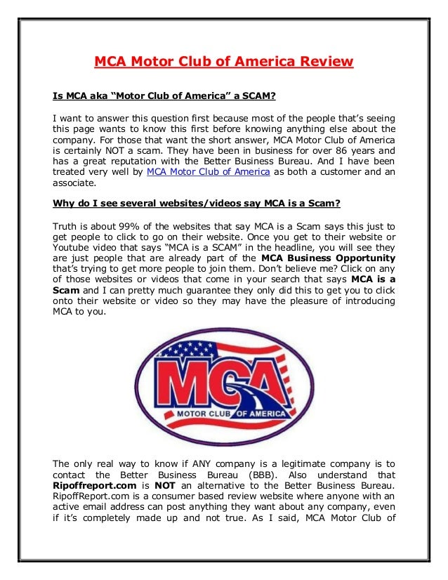 What Is Motor Club Of America Mca Become A Member Of Motor
