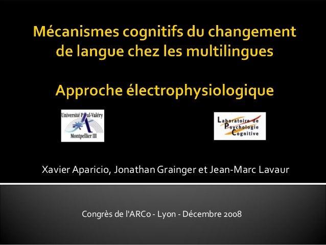 Xavier Aparicio, Jonathan Grainger et Jean-Marc Lavaur Congrès de l'ARCo - Lyon - Décembre 2008