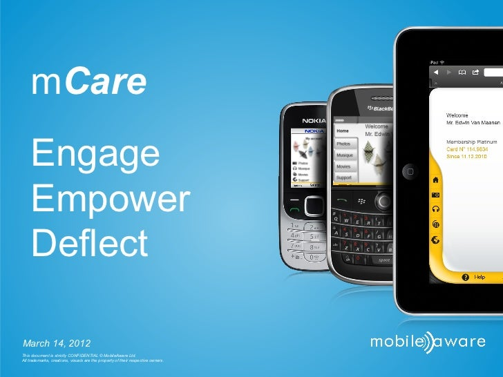 mCare    Engage    Empower    DeflectMarch 14, 2012This document is strictly CONFIDENTIAL © MobileAware Ltd.All trademarks...