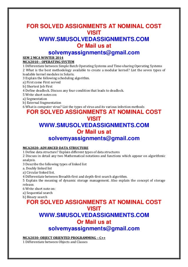 FOR SOLVED ASSIGNMENTS AT NOMINAL COST VISIT WWW.SMUSOLVEDASSIGNMENTS.COM Or Mail us at solvemyassignments@gmail.com SEM 2...