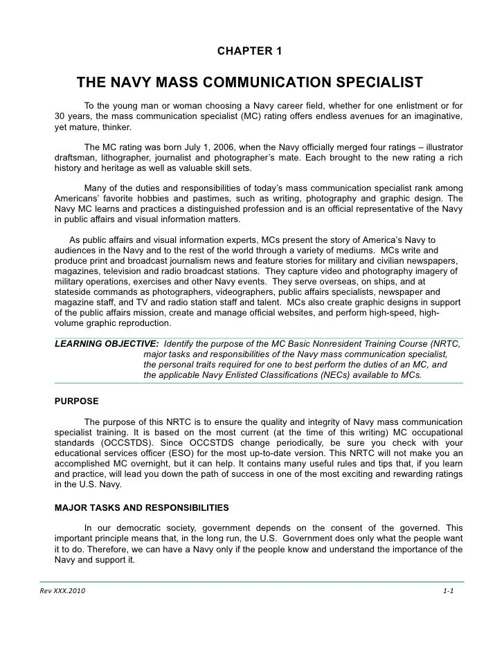 CHAPTER 1           THE NAVY MASS COMMUNICATION SPECIALIST           To the young man or woman choosing a Navy career fiel...