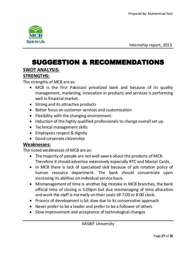 mcb internship report on hrm Aiou internship reports,vu internship reports,mba projects,assignments,vu old papers.