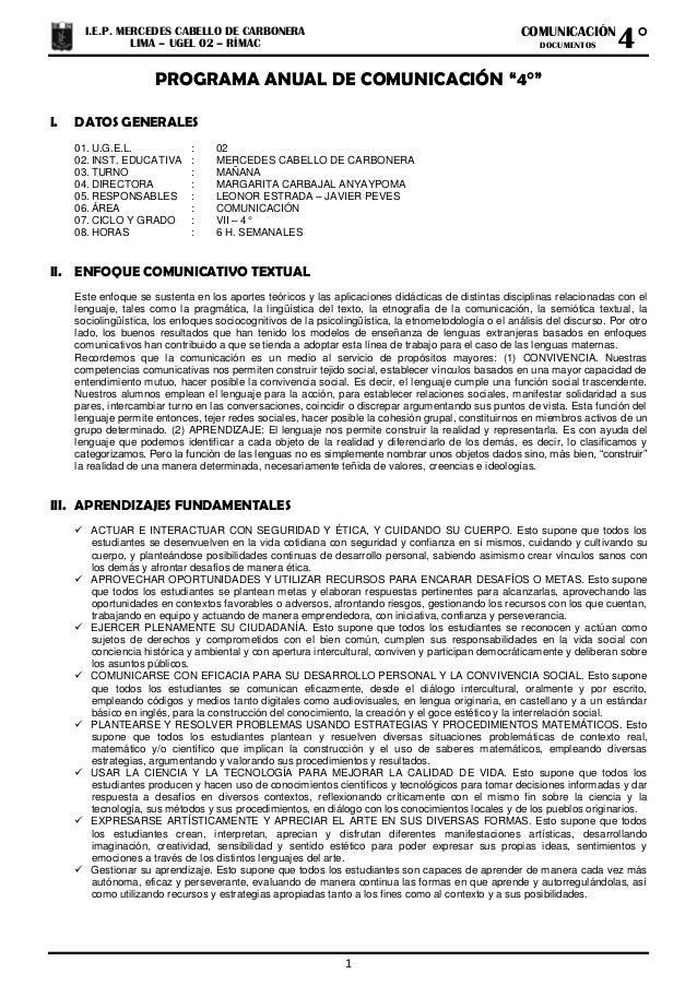 """1 COMUNICACIÓN DOCUMENTOS I.E.P. MERCEDES CABELLO DE CARBONERA LIMA – UGEL 02 – RÍMAC 4° PROGRAMA ANUAL DE COMUNICACIÓN """"4..."""