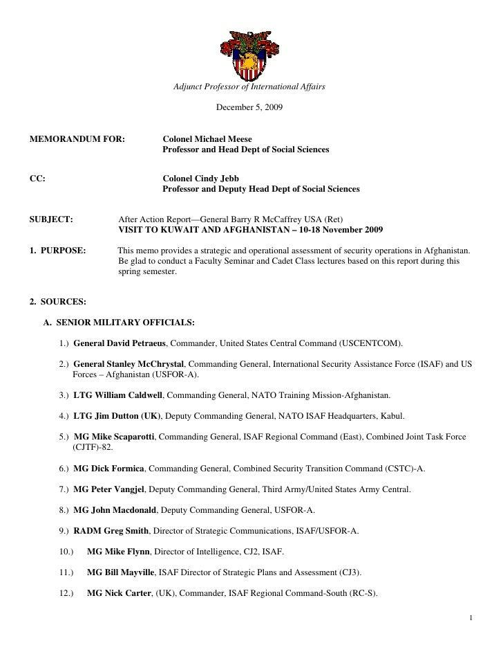 Adjunct Professor of International Affairs                                                  December 5, 2009   MEMORANDUM ...