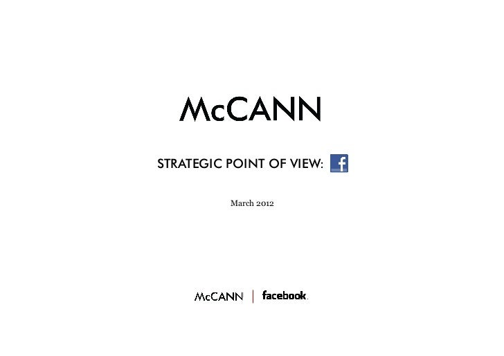 McCann Social Central Facebook Strategic Point of view