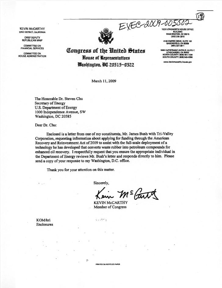 Rep. McCarthy (R-CA) recommending clean energy grant request