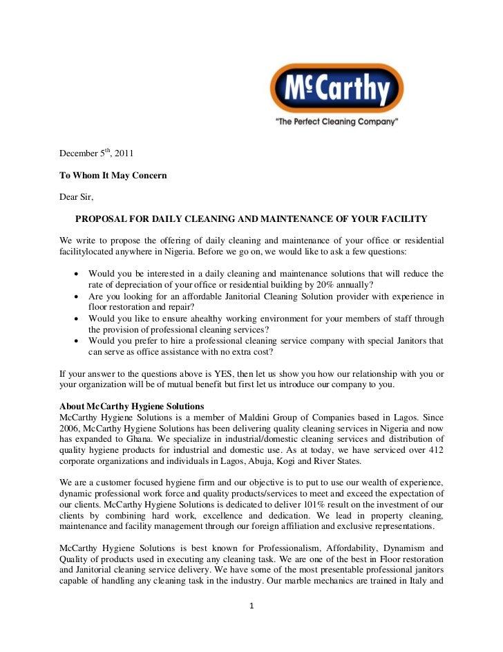 Mc Carthy Proposal