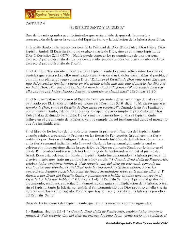 """CAPITULO 6                             """"EL ESPÍRITU SANTO Y LA IGLESIA""""Uno de los más grandes acontecimientos que se ha vi..."""