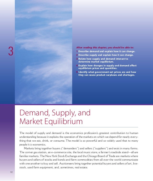 525252 Demand, Supply, and Market Equilibrium The model of supply and demand is the economics profession's greatest contri...