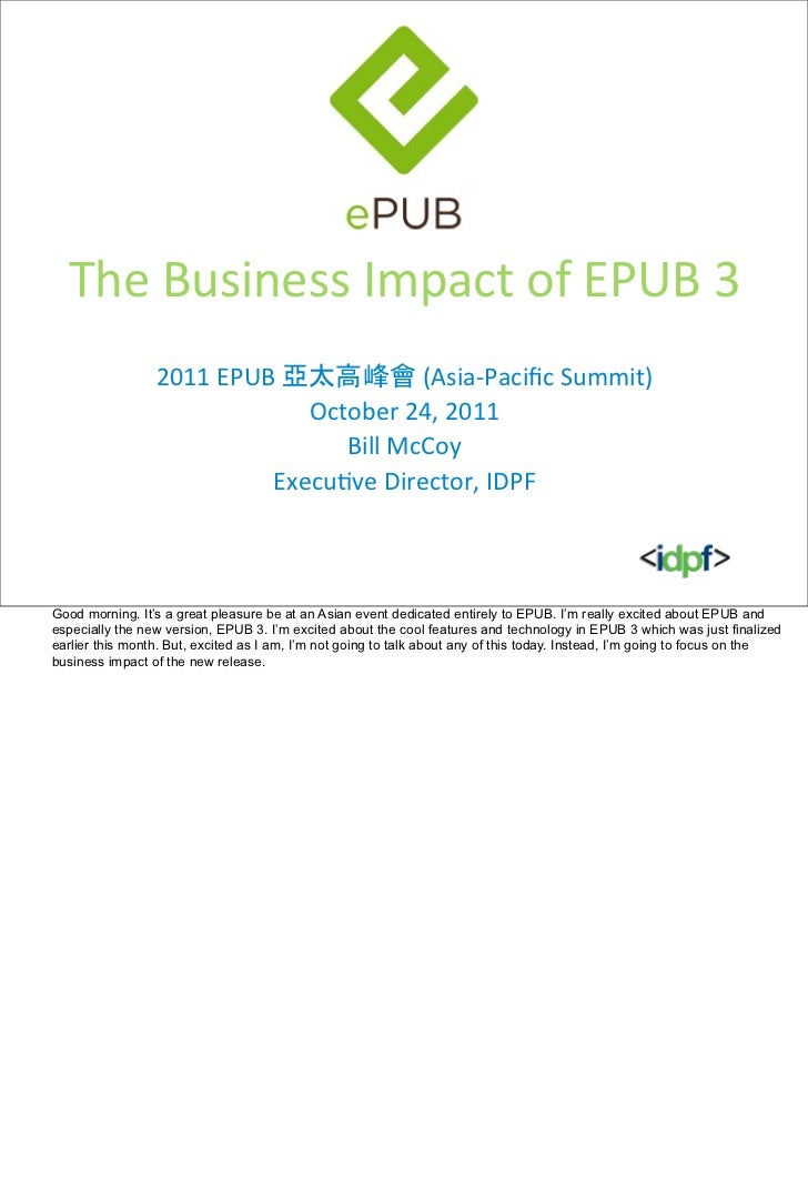 The Business Impact of EPUB 3