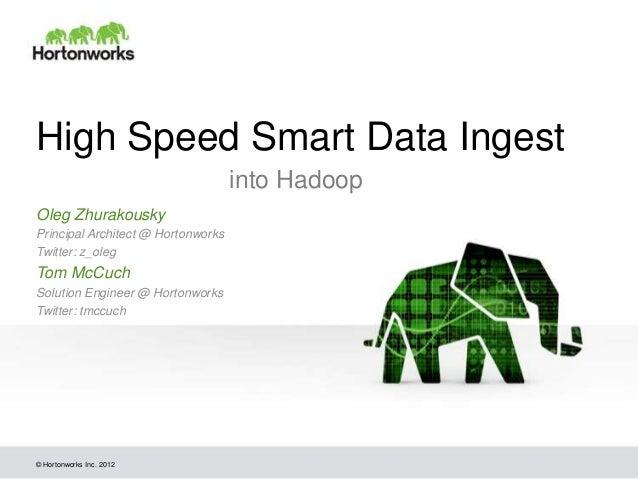 © Hortonworks Inc. 2012 High Speed Smart Data Ingest into Hadoop Oleg Zhurakousky Principal Architect @ Hortonworks Twitte...