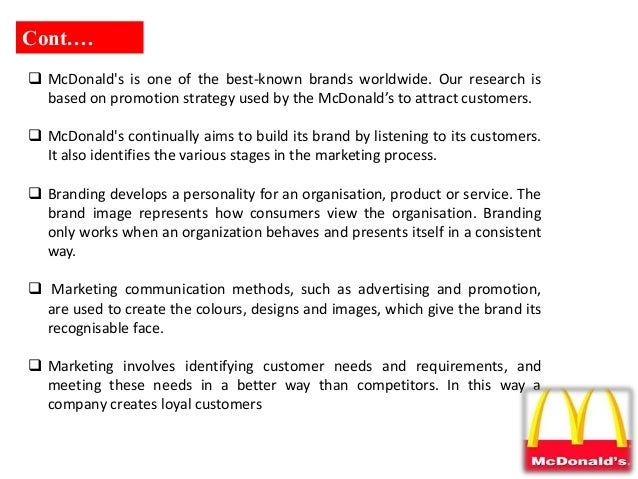 on the marketing stategies of mcdonalds