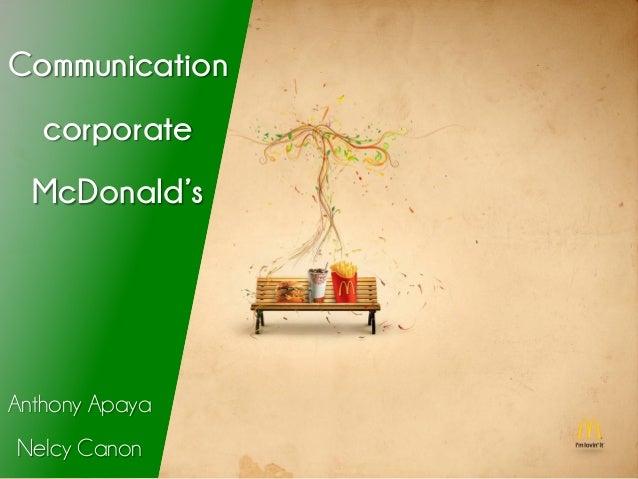 Communication corporate McDonald's Anthony Apaya Nelcy Canon