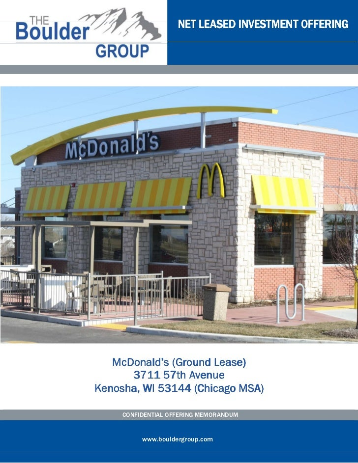 NET LEASED INVESTMENT OFFERING                      Lease)   McDonald's (Ground Lease)      3711 57th AvenueKenosha, WI 53...