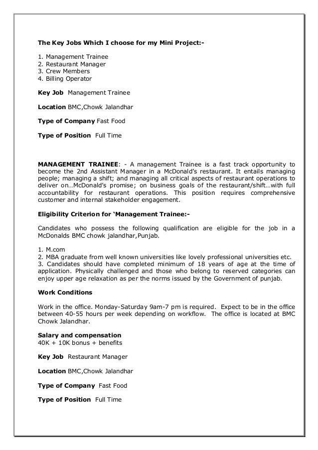 mcdonalds mini project recruitment process  u0026 t u0026d